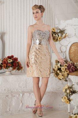 Champagne Sweetheart Short Prom Nightclub Dress Sequin Beading
