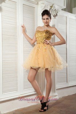 Champagne Cocktail Dress Sweetheart Organza Sequins Mini-length