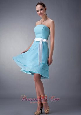 Layered Aqua Blue Knee-length Bridesmaid Dress Chiffon