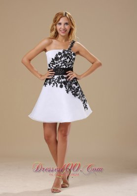 Embroidery One Shoulder Mini-length Black and White Prom Dress