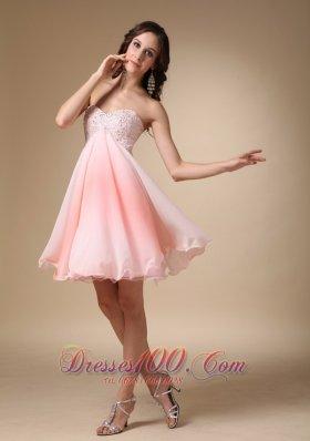 Beading Graduation Homecoming Dress Pink Mini Sweetheart