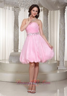 Baby Pink Homecoming Dress With Beaded Sash