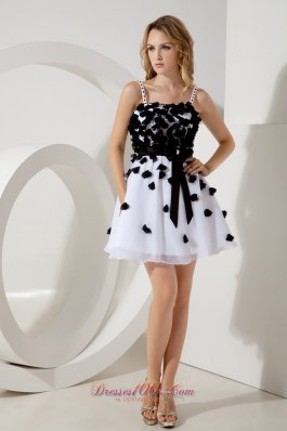 White and Black Appliques Straps Prom / Homecoming Dress
