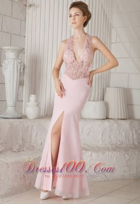 Pink Appliques V-neck Chiffon Slit Prom Evening Dress