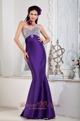 Mermaid Sweetheart Purple Prom Evening Dress Beaded