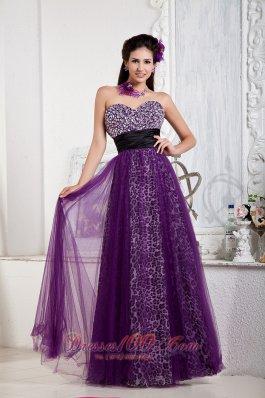 Leopard Purple Prom Evening Dress Beaded Sweetheart