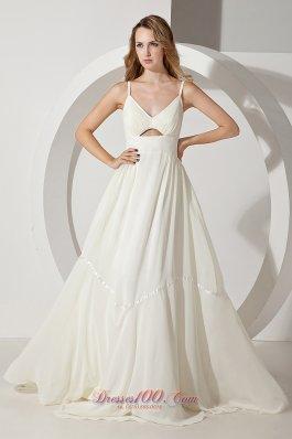 White Straps Prom Evening Dress Chiffon Brush Train