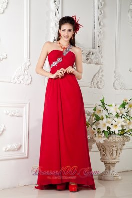Appliques One Shoulder Red Prom Evening Dress Train