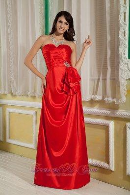 Beading Red Prom Evening Dress Sweetheart Satin