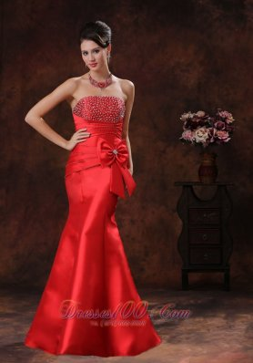 Beaded Mermaid Red Prom Evening Dress Satin Bow