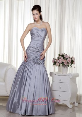 Grey A-line Sweetheart Floor-length Taffeta Prom Dress