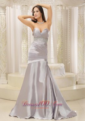 Satin and Ruched Bodice Beaded Decorate Waist Prom Dress