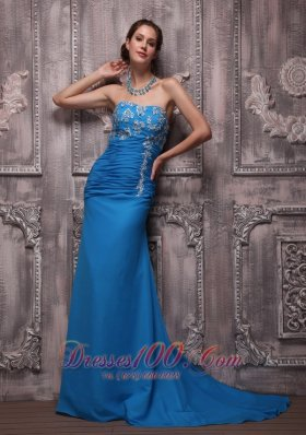 Blue Column Strapless Chiffon Appliques Prom Dress