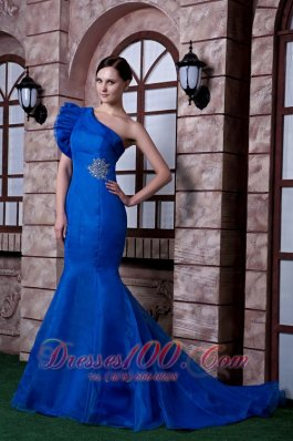 Royal Blue Mermaid Evening Dress Beading Satin Organza