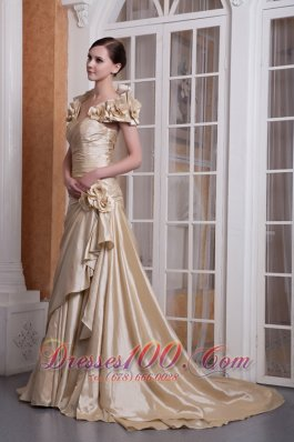 Champagne A-line Sweetheart Wedding Dress Silk Satin