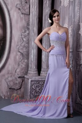 Lilac Column Sweetheart Prom Dress Chiffon Beading