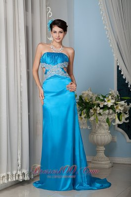 Turquoise Column Sheath Strapless Prom Evening Dress Satin Beading