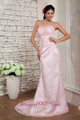 Pink Prom Dress Evening Column Sweetheart Beading Brush Train