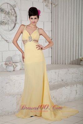 Fashion Light Yellow Empire Evening Dress Straps Chiffon