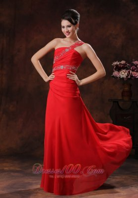 One Shoulder Red Chiffon Prom Evening Dress Beaded Decorate