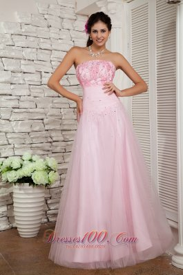 Beading Baby Pink Tulle Floor-length Prom / Evening Dress