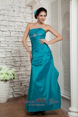 Ankle-lengthTuquoise Beading Prom / Evening Dress