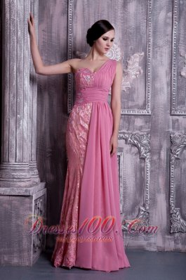 Rose Pink Prom Dress One-shoulder Appliques 2013