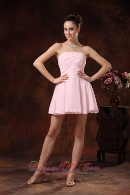 Strapless Ruched Chiffon A Line Baby Pink Cocktail Gowns