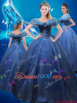 Dynamic Cinderella Off The Shoulder Sleeveless Sweet 16 Quinceanera Dress Floor Length Beading and Bowknot Navy Blue Tulle