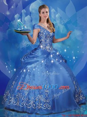 Custom Fit Cinderella Off the Shoulder Floor Length Lace Up Ball Gown Prom Dress Blue and In for Sweet 16 and Quinceanera with Beading and Embroidery
