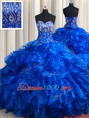 Luxurious Royal Blue Sweet 16 Dresses Military Ball and Sweet 16 and Quinceanera and For with Beading and Ruffles Sweetheart Sleeveless Brush Train Lace Up