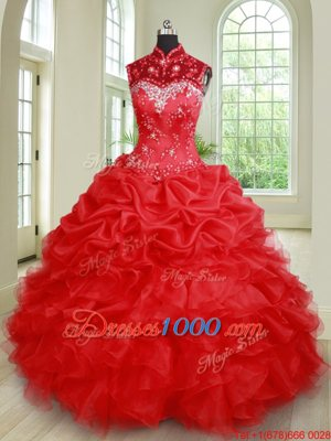 See Through Beading and Ruffles and Pick Ups 15th Birthday Dress Red Lace Up Sleeveless Floor Length