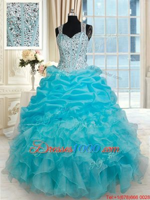 Aqua Blue Straps Zipper Beading and Ruffles and Pick Ups Quince Ball Gowns Sleeveless