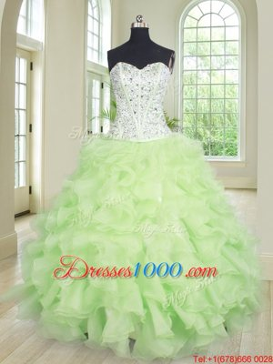 Sumptuous Yellow Green Lace Up Quinceanera Gowns Beading and Ruffles Sleeveless Floor Length