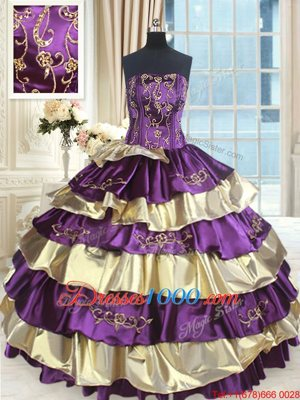 Multi-color Sleeveless Beading and Ruffled Layers Floor Length Sweet 16 Dresses