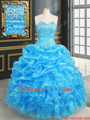 Vintage Sweetheart Sleeveless Sweet 16 Dresses Floor Length Beading and Ruffles Royal Blue Organza