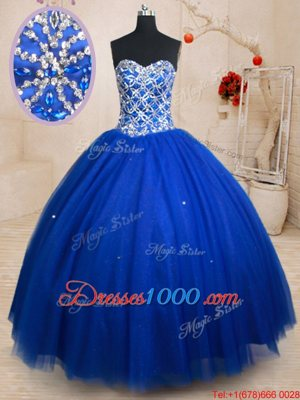 Comfortable Royal Blue Lace Up Sweetheart Beading Quinceanera Dress Tulle Sleeveless