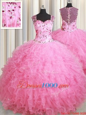 Straps Straps Beading and Ruffles Ball Gown Prom Dress Rose Pink Zipper Sleeveless Floor Length