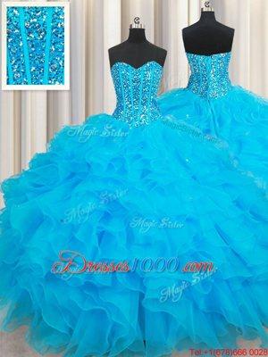 Three Piece Sweetheart Sleeveless Organza Ball Gown Prom Dress Beading and Ruffles Brush Train Lace Up