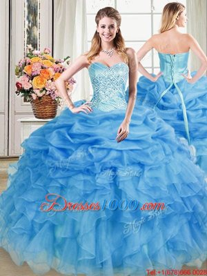 Flare Blue Lace Up Sweetheart Beading and Ruffles and Pick Ups Vestidos de Quinceanera Organza Sleeveless