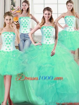 Four Piece Floor Length Turquoise Sweet 16 Dresses Strapless Sleeveless Lace Up