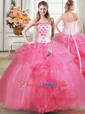 Fancy Sleeveless Beading and Appliques and Ruffles Lace Up Sweet 16 Dress