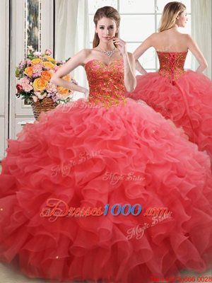 Stunning Coral Red Sweetheart Lace Up Beading and Ruffles Sweet 16 Dress Sleeveless