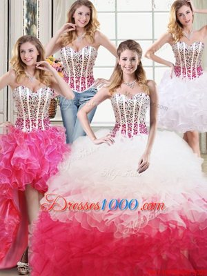 Inexpensive Three Piece Ball Gowns Sleeveless Fuchsia Quinceanera Gown Brush Train Lace Up