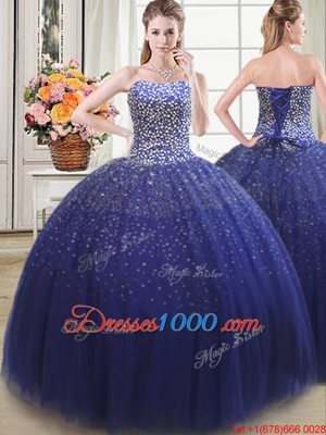 Three Piece Teal Ball Gown Prom Dress Tulle Sleeveless Beading