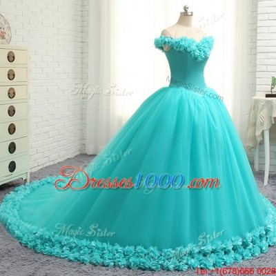 Off the Shoulder Cap Sleeves With Train Hand Made Flower Lace Up Quinceanera Dresses with Aqua Blue Court Train