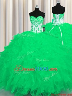 Organza Sleeveless Floor Length Sweet 16 Dresses and Appliques and Ruffles