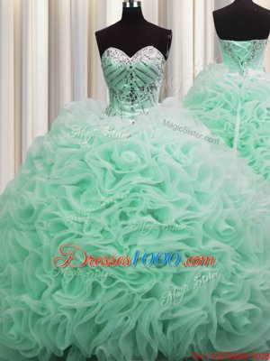 Fabulous Brush Train Apple Green Fabric With Rolling Flowers Lace Up Sweetheart Sleeveless Floor Length Quinceanera Gowns Beading and Pick Ups