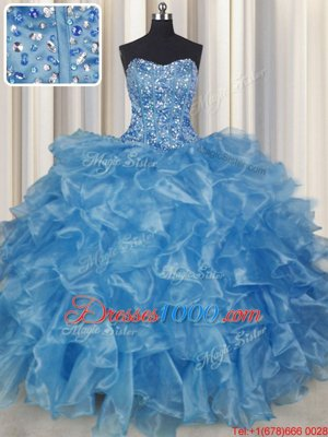 Visible Boning Baby Blue Lace Up Strapless Beading and Ruffles Quinceanera Dresses Organza Sleeveless
