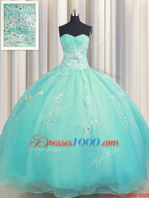 High Quality Zipper Up Floor Length Aqua Blue Quinceanera Gowns Organza Sleeveless Beading and Appliques